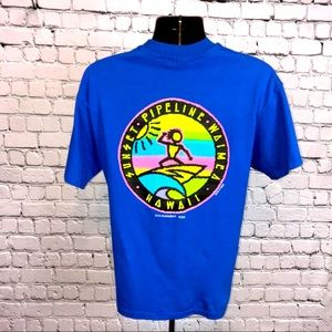 Hanes 90's Vintage Surf Style Medium Blue T-Shirt